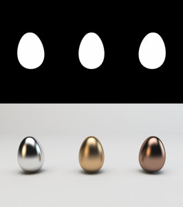 Metallic Easter eggs with Alpha channel