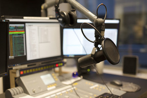 Microphone modern radio station broadcasting studio