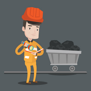 Miner checking documents with the flashlight on the background of trolley with coal. Mine worker in hard hat. Miner in the coal mine. Vector flat design illustration. Square layout.