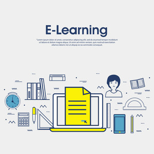 Modern doodle design style of E-Learning, Online Education, Distance Learning, Training and Educational Elements.Creative line art illustration for Web Banner, Online Tutorials, Printed or Promotional Materials.