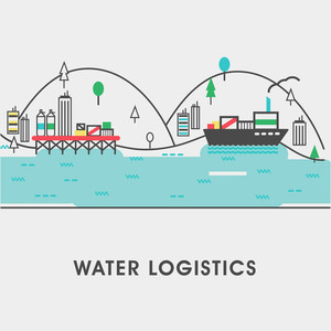Modern flat style illustration of of cargo freight shipping by water, sea transport delivery, export logistics control.