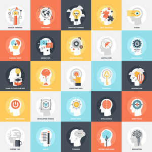 Modern flat vector illustration of imagination and mind power icon design concept. Icon for mobile and web graphics. Flat symbol