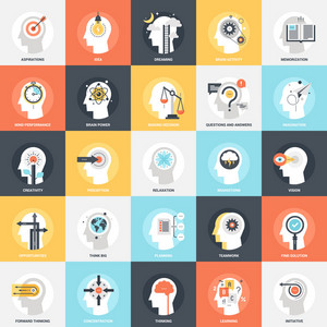 Modern flat vector illustration of thinking and brain process icon design concept. Icon for mobile and web graphics. Flat symbol