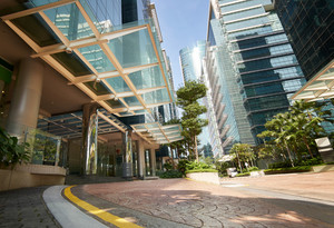 Modern office buildings in central Malaysia.