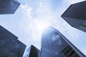 Modern office buildings / skyscrapers in sunlight. Blue toned image.