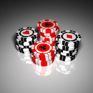 Modern Poker Chips on White Table