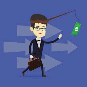 Money on fishing rod as motivation for business man. Asian business man motivated by money hanging on fishing rod. Concept of business motivation. Vector flat design illustration. Square layout.