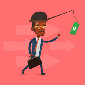 Money on fishing rod as motivation for businessman. An african businessman motivated by money hanging on fishing rod. Concept of business motivation. Vector flat design illustration. Square layout.