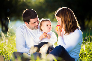 Mother and father holding their little son, eating apples, sitting on the grass outside in green sunny nature