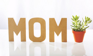 Mother's day celebration theme with MOM letters