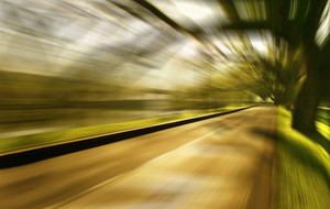 Motion blurred racetrack,cold mood