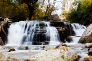 Mountain river waterfall in Autumn