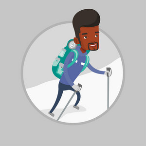Mountaneer climbing a snowy ridge. Mountaineer climbing a mountain. Mountaineer with backpack walking up along a snowy ridge. Vector flat design illustration in the circle isolated on background.