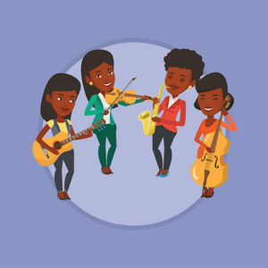 Musicians playing on musical instruments. Group of musicians playing on musical instruments. Musicians performing with instruments. Vector flat design illustration in the circle isolated on background