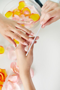 Nail treatment in a professional spa salon