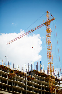 New building construction and crane outdoors