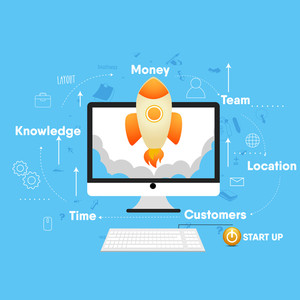 New Business Project Start Up process with illustration of a rocket flying out from a desktop, Creative vector illustration.