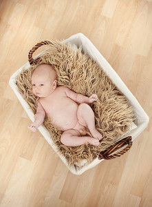 Newborn baby boy is laying in basket with furry blanket
