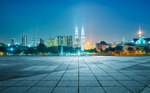 Night view of Kuala Lumpur city with empty floor