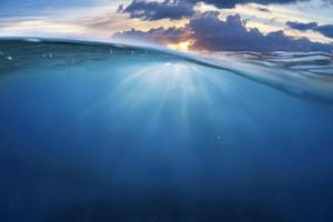 ocean half water with sunset sky