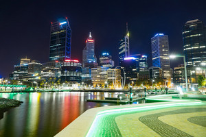 Office building background in Elizabeth Quay-Perth, London ,capital of Western Australia .