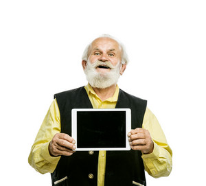 Old active bearded man with digital tablet isolated on white background