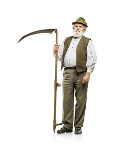 Old bearded bavarian man in hat holding scythe in his hand, isolated on white background