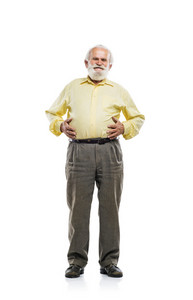 Old bearded man holding tummy isolated on white background