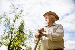 Old farmer with a hoe is having break from weeding