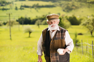 Old farmer with beard is walking in meadow