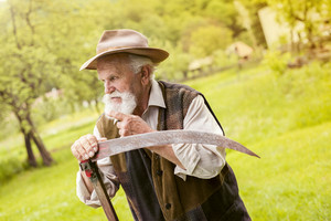 Old farmer with beard preparing his scythe before using to mow the grass traditionally