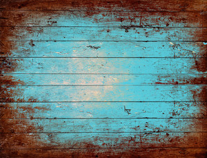 Old stained blue wooden board background, plank with texture, empty copy space