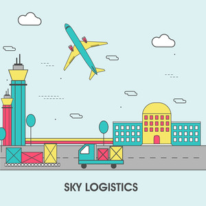 One page web design template, line art flat icons based on Sky Logistics, Take Off Airplane, Commercial Shipment by Airline. Modern Hero image and website elements layout.