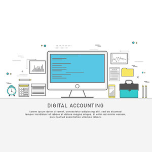 One page web design template with thin line icons of digital accounting service, investment research, business data market analysis. Flat design graphic hero image concept, website elements layout.