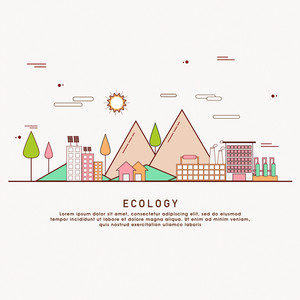 One page web design template with thin line icons of planet ecology environment, city environmental pollution, green earth conservation. Flat design graphic hero image concept.