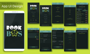 Online Bus Tickets Booking Mobile App UI, UX and GUI Screens including Sign In, Sign Up, Search, Select Seat, Booking Details and Payment Option features for responsive websites and e-commerce business concept.