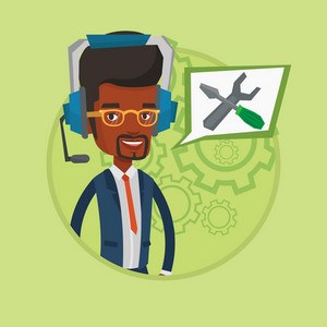 operator of technical support service. Operator of technical support wearing headphone set. Technical support operator. African Vector flat design illustration in the circle isolated on background.