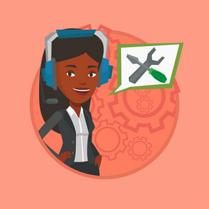 Operator of technical support wearing headphone set. Technical support operator and speech square with screwdriver and wrench. Vector flat design illustration in the circle isolated on background.