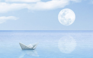 origami paper sailboat sailing on blue water concept art
