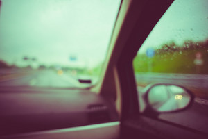 Out of focus car interior vintage filtered - travel, journey, transport concept