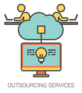 Outsourcing services infographic metaphor with line icons. Outsourcing services concept for website and infographics. Vector line art icon isolated on white background.