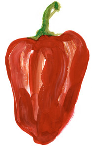 Painting of big red pepper over white background