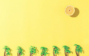 Palm trees and lemon sun flat lay on yellow background