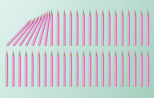 Pastel pink color domino effect concept