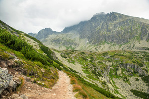 Path to mountains. Cloudy High Tatras, Slovakia, rainy misty day, Beautiful mountain landscape.