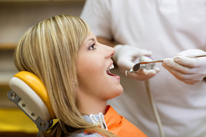 Patient is having a dental treatment
