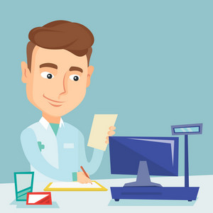 Pharmacist writing on clipboard and holding prescription. Pharmacist in medical gown standing at pharmacy counter. Pharmacist reading prescription. Vector flat design illustration. Square layout.