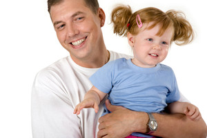 Photo of father holding   cute girl on a white background