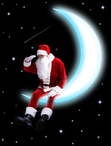 Photo of Santa Claus sitting on shiny moon and looking downwards with night sky at background