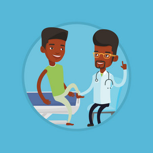 Physiotherapist checking ankle of a man. Physiotherapist examining leg of sportsman. Physiotherapist giving leg massage to patient. Vector flat design illustration in the circle isolated on background